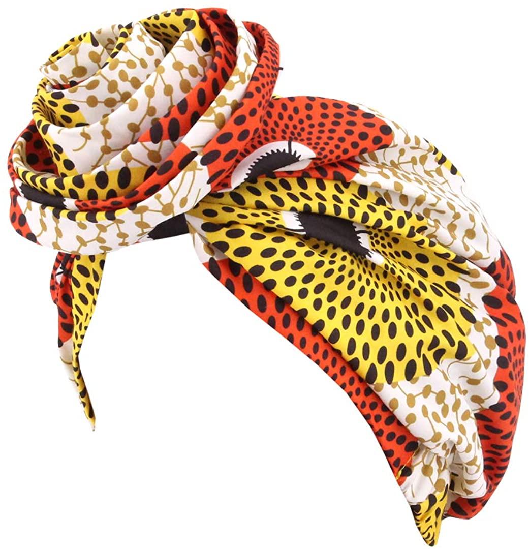 Surkat African Stain Turban Hat Pre-Tied Knot Headwrap Hairwear Bonnet Cap for Women