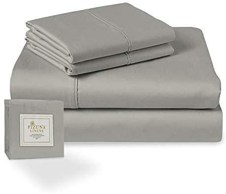 Pizuna 400 Thread Count Light Grey Twin XL Sheets Set, 100% Long Staple Cotton Soft Sateen Bed Sheets Deep Pocket fit Upto 15 inch (Silver Gray XL Twin Sheet Set)