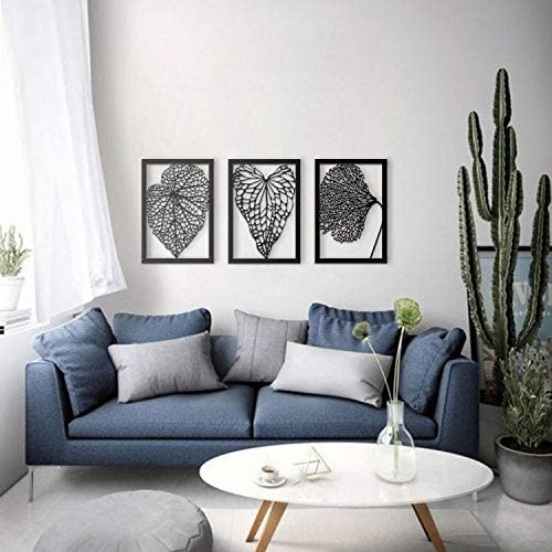 ikonika 3 Set Dry Leaves Metal Wall Decor, Metal Wall Art, Black Wall Decor Bathroom Decor, Bedroom Decor and Kitchen Wall Decor, Wall Decorations for Living Room
