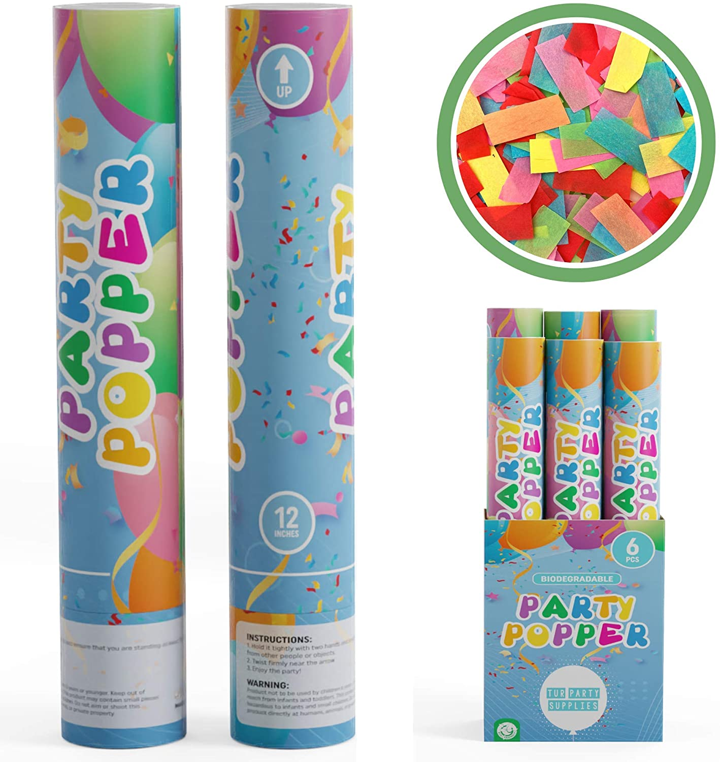 TUR Party Supplies Biodegradable Confetti Cannon Party Poppers (12 Inch) in Decorated Box Authentic Giant Confetti Cannons for Parties, Birthdays, Weddings, and More (6 Pack)