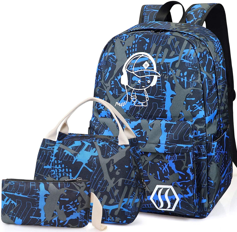 School Bag Kids 3-in-1 Bookbag Set, Junlion Music Boy Laptop Backpack Lunch Bag Pencil Case Gift for Teen Boys Blue