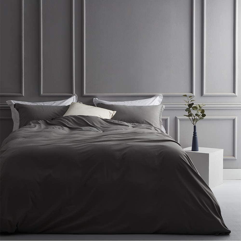 SNUGEESE HOME King Duvet Cover Set 3 Piece Brushed Microfiber Duvet Cover King Size with Hidden Snaps and 2 Pillow Shams Grey Bedding Set Soft Hypoallergenic Easy Washed