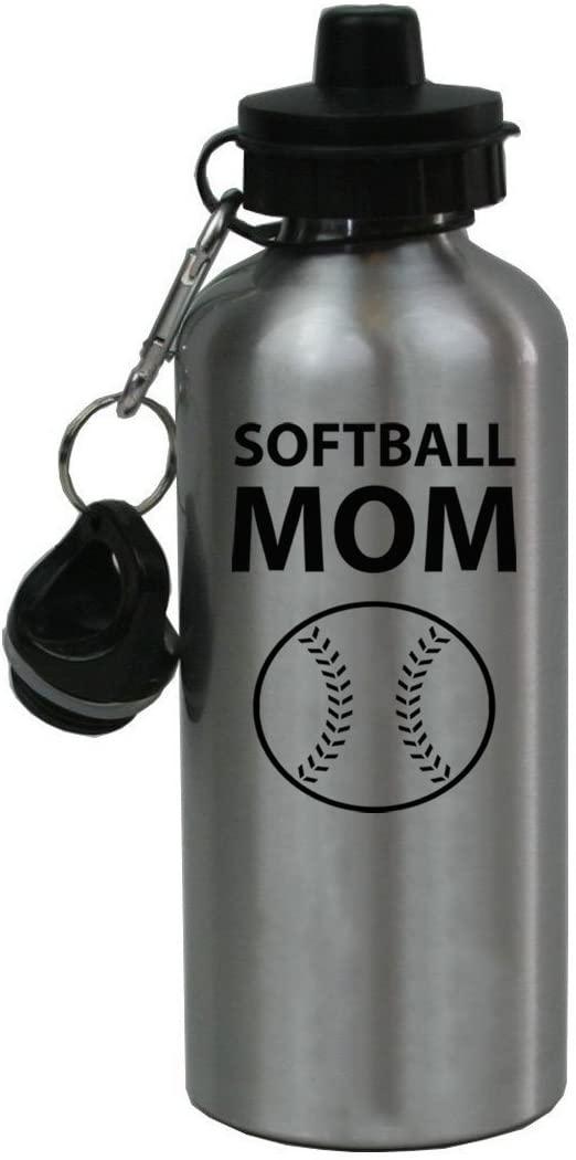 Personalized Custom Softball Mom Aluminum Silver Finish 20 Ounce 600ML Sport Water Bottle Customizable