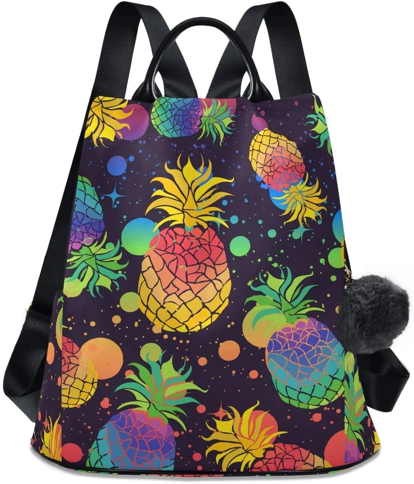 ALAZA Colorful Pineapples with Pride Flag Colors Backpack with Keychain for Woman Ladies