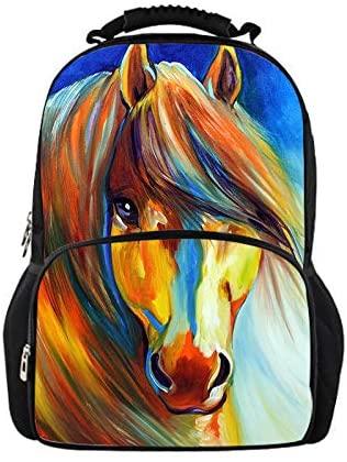 doginthehole 3D Drawing Horse Bookbag Backpack Boys Teens Casual Lightweight Daypack Knapsack
