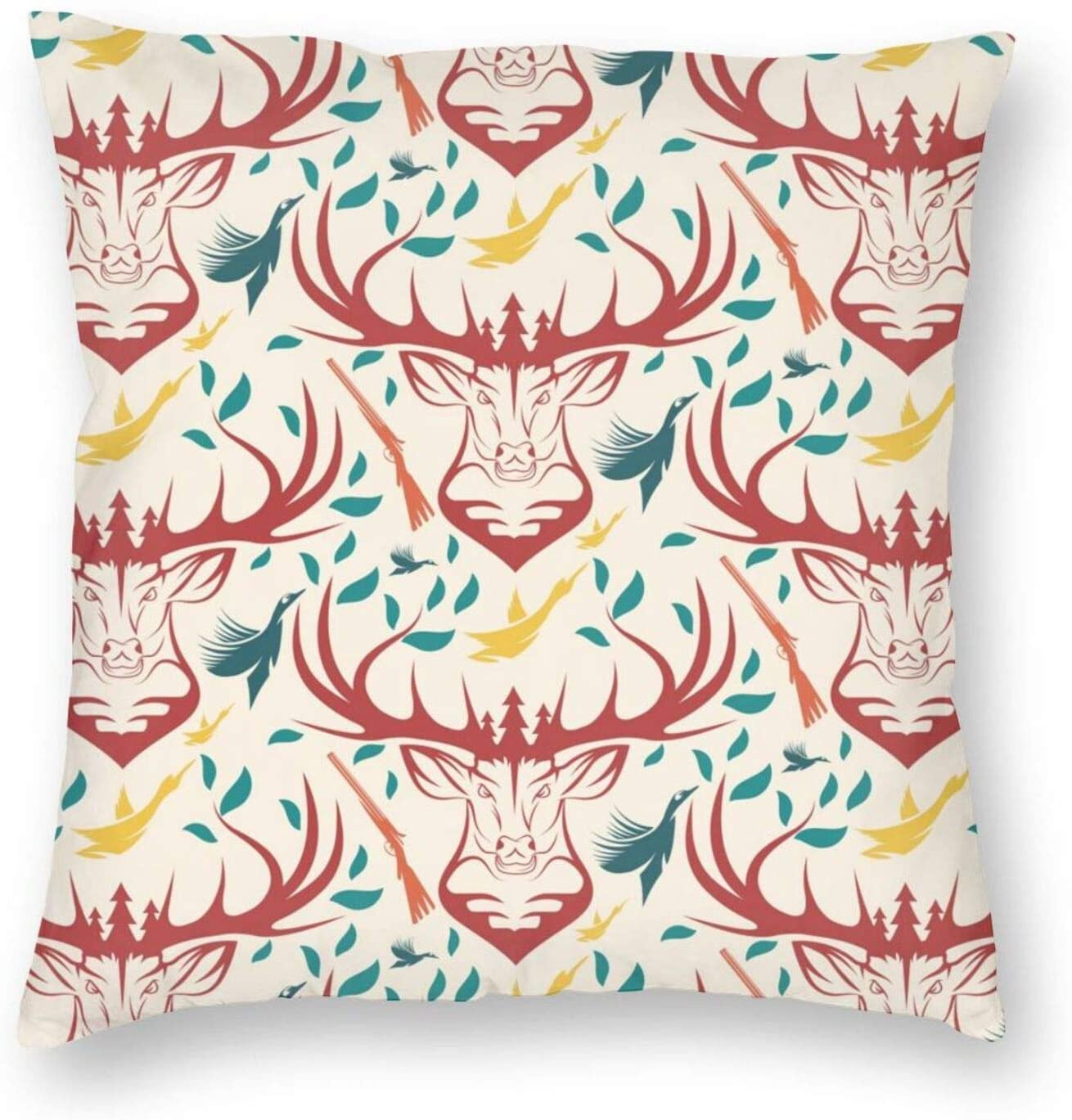 antkondnm Hunting Theme with Deer Duck Pillow Covers Decorative Square Throw Pillow Covers Cushion Cases Home Decor for Sofa Bedroom Car 18x18 Inch