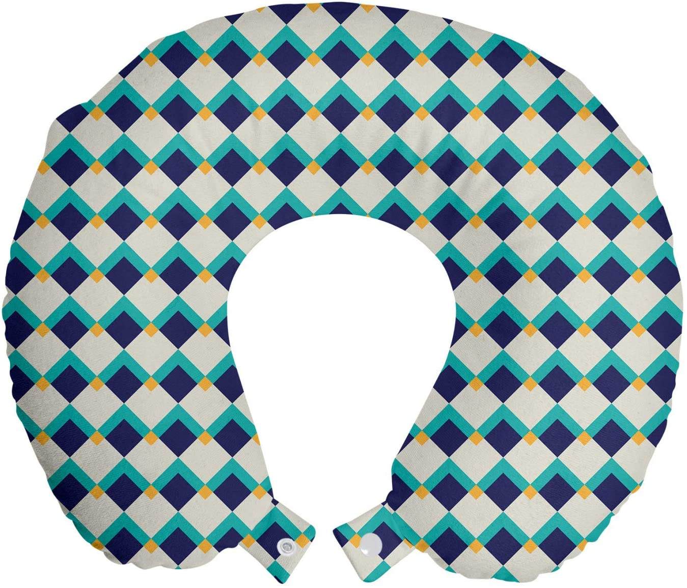 Ambesonne Abstract Travel Pillow Neck Rest, Repeating Geometric Illustration of Retro Tones, Memory Foam Traveling Accessory for Airplane and Car, 12