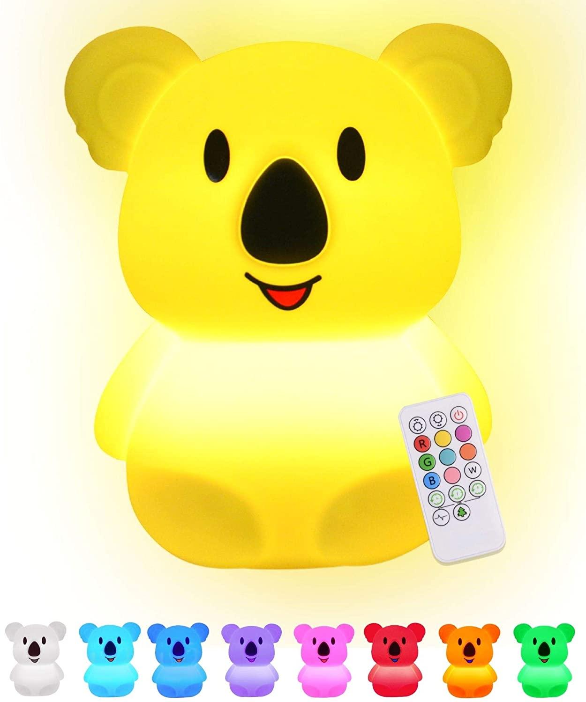 Baby Night Light for Kids Room | LED Kids Night Light Baby Lamp for Nursery | Koala Lamp With Remote | Nine Multi Color Changing Koala Light | Miffy Lamp for Nursery | Silicone Night Light Kids- Koala