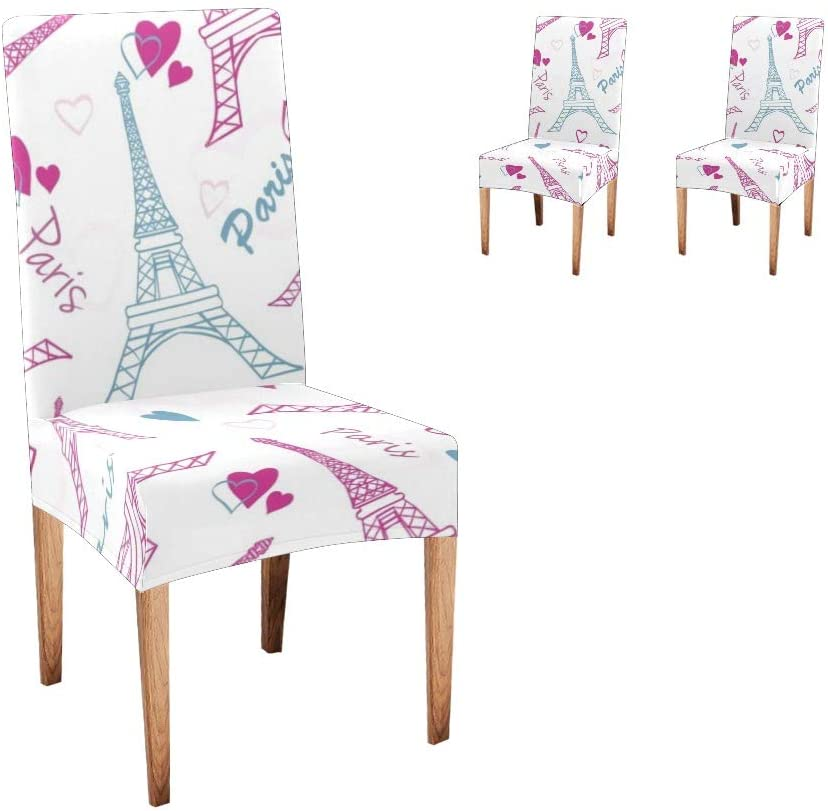 CUXWEOT Chair Covers for Dining Room Eiffel Tower Heart Seat Covers Slipcovers for Party Decor (Set of 2)