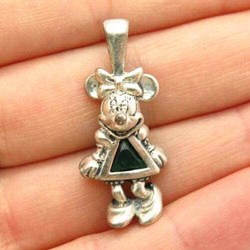 925 Sterling Silver Disney Emerald-Tone Glass Mickey Mouse Design Slide Pendant Halloween & Christmas Gift