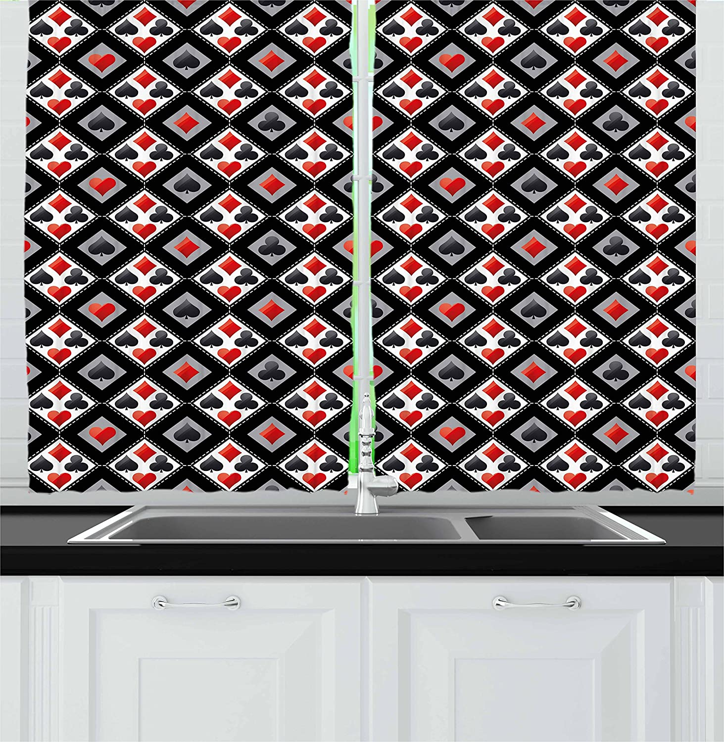 Lunarable Casino Kitchen Curtains, with Geometrical Design and Mosaic Composition Gamblers Club, Window Drapes 2 Panel Set for Kitchen Cafe Decor, 55
