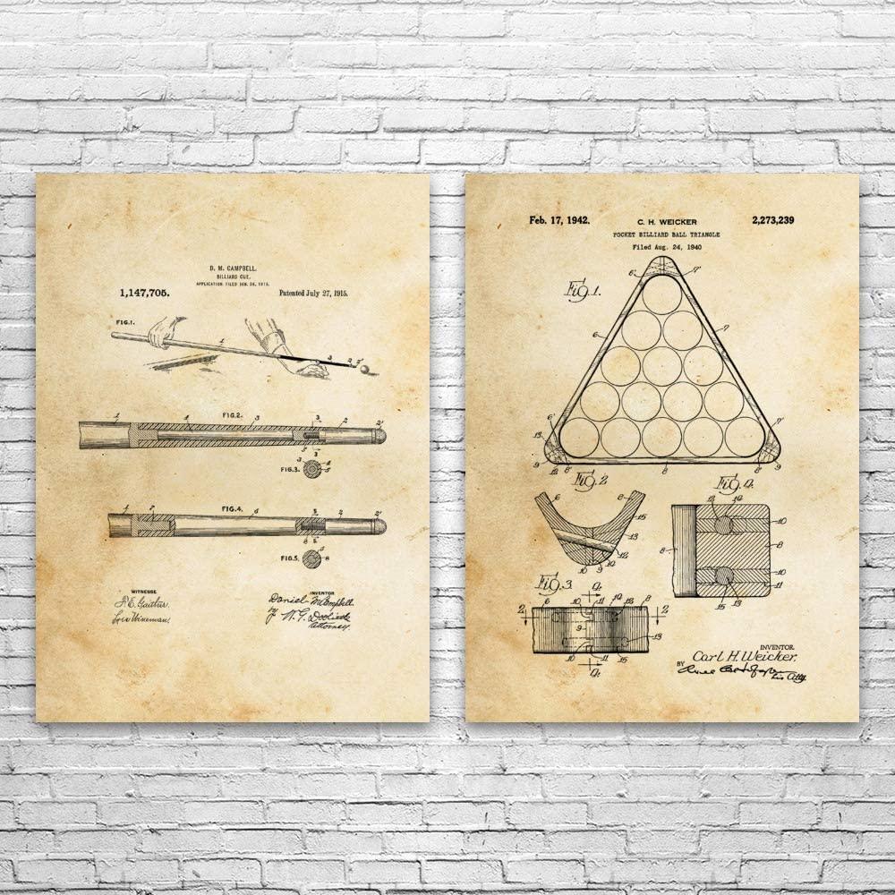 Billiards Pool Patent Prints Set of 2, Pool Player Gift, Pool Hall Decor, Billiards Wall Art, Pool Shark Gift