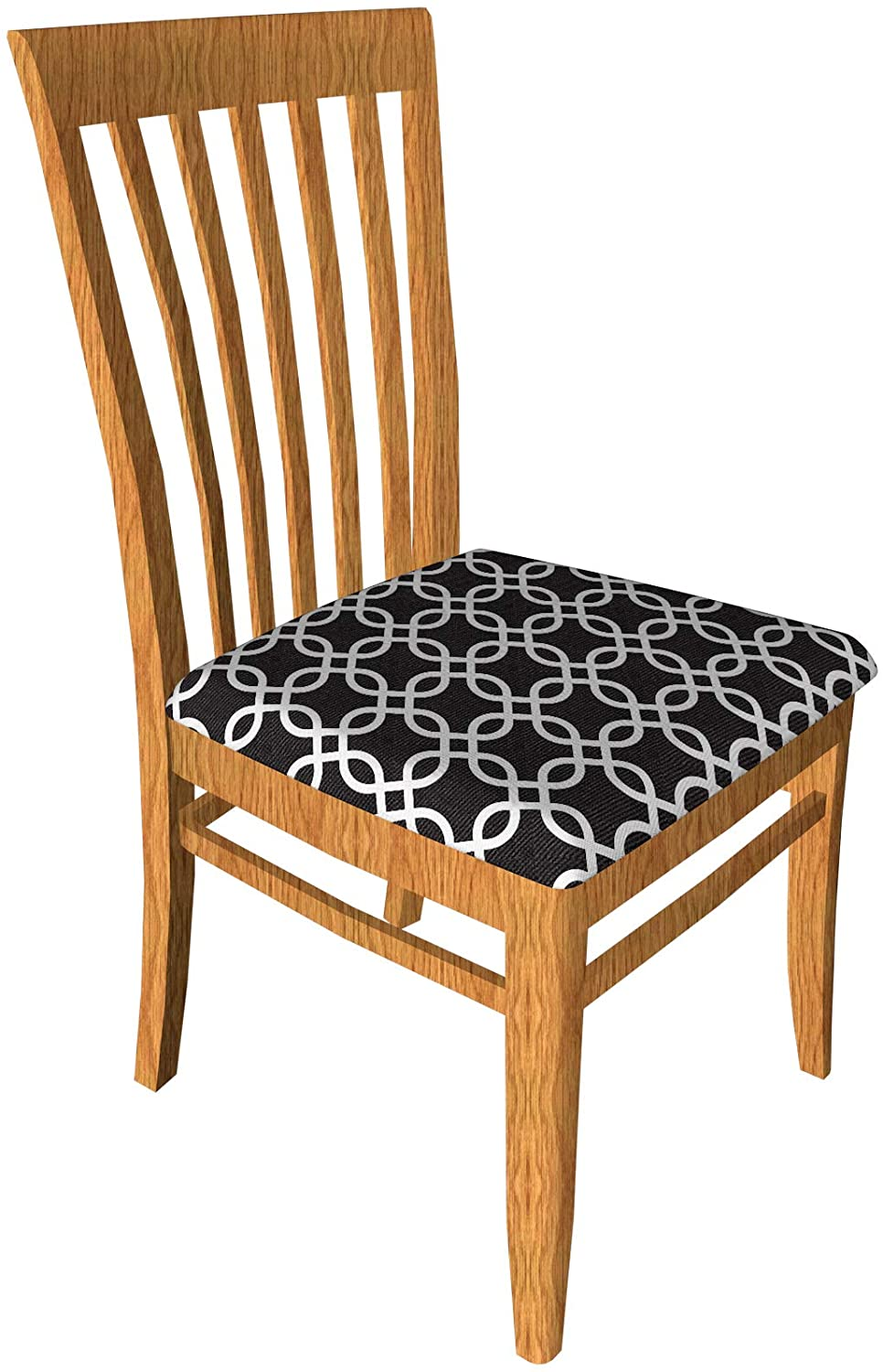 SheYang Stretch Spandex Jacquard Dining Room Chair Seat Covers, Removable Washable Anti-Dust Dinning Upholstered Chair Seat Cushion Slipcovers (Black 03, 4)