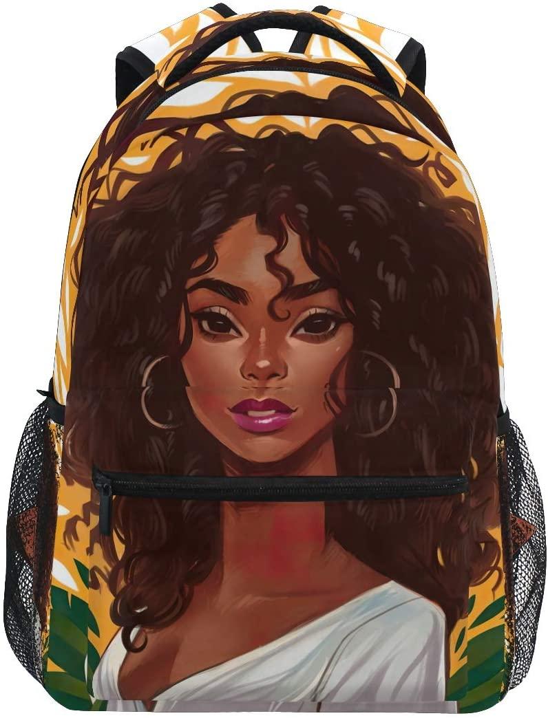 Africa American Pretty Black Girl Backpack for Boys Girls Bookbag 2022081
