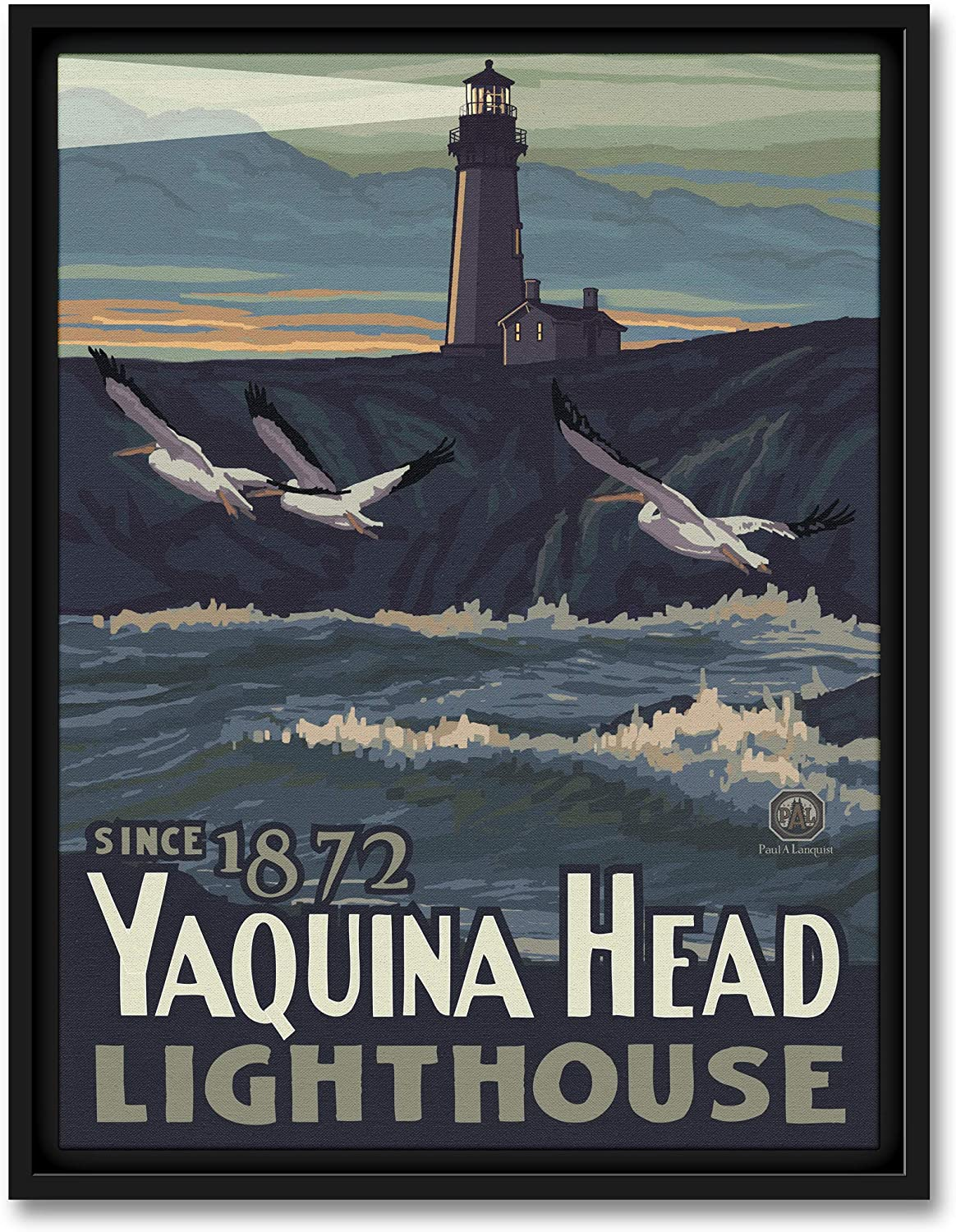 Yaquina Head Newport Oregon Lighthouse with Pelicans Professionally Framed Giclee Archival Canvas Wall Art for Home & Office from Original Travel Artwork by Artist Paul A. Lanquist 9