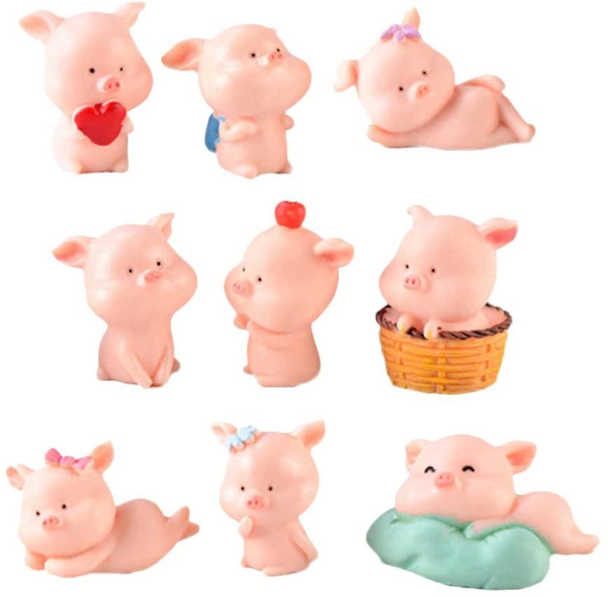 HEALLILY Pig Miniature Figurine Resin Animal Collectibles Toy for Fairy Garden Dollhouse Bonsai Micro Landscape Decoration 9Pcs