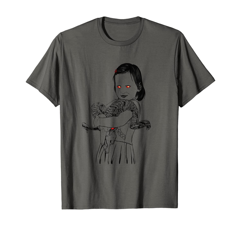 Demon Church Girl Baphomet Goat of Mendes Heavy Goth Metal T-Shirt