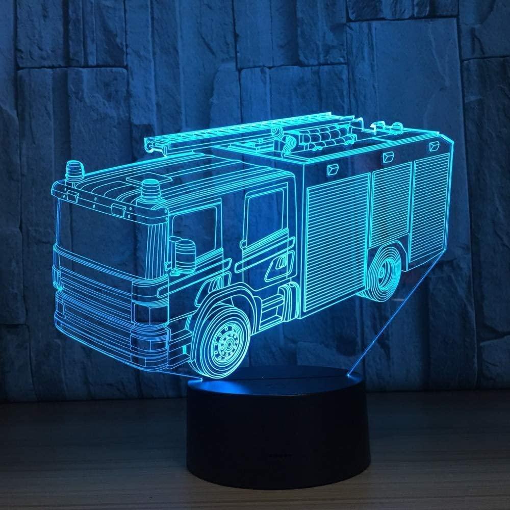 dferh 3D Night Light Fire Truck 3D Night Lamp 7 Colors Led USB 3D Night Lights As Children s Room Toys Decoration LightsNew Year Gift