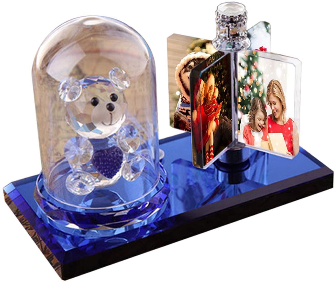 Personalized Lamp 7 Color Light Custom Photo Light 3D Crystal Photo Frame Rotatable LED Light Christmas for Women(Bear + Rectangular Album)