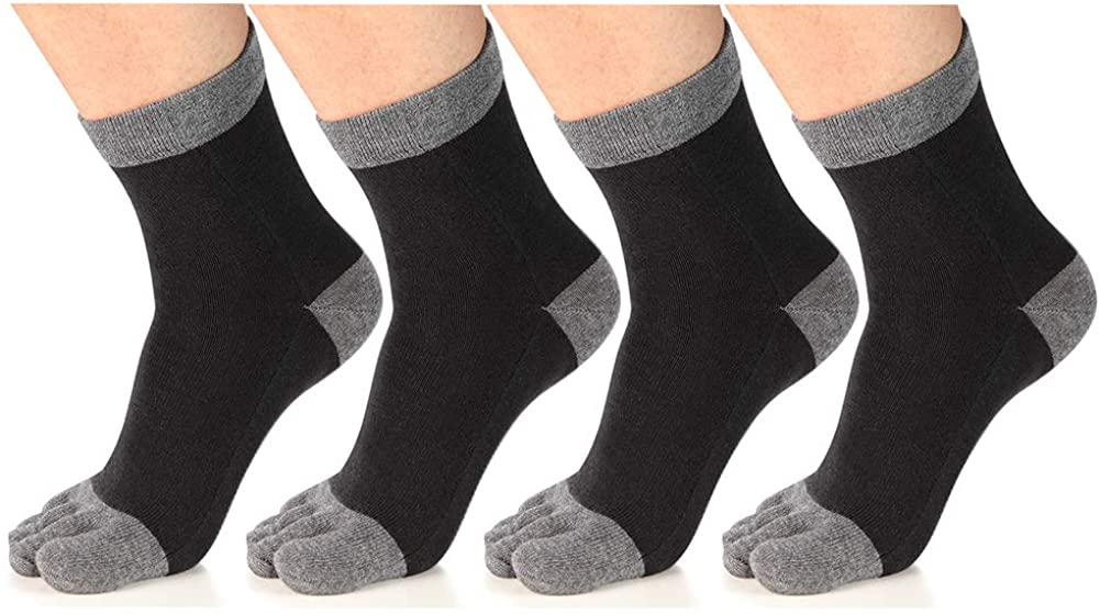 Meaiguo Toe Socks Running Five Finger Crew Cotton for Men Women 3-4 Pack
