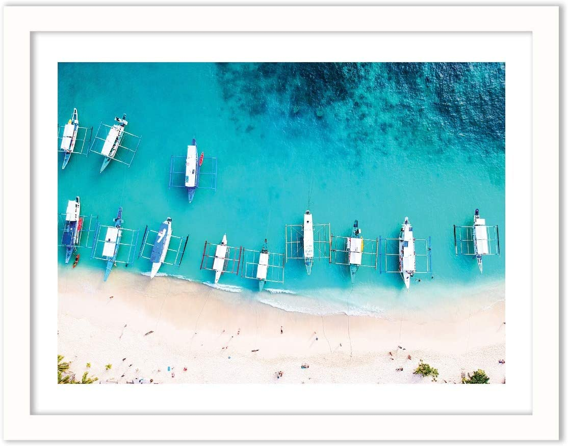 Humble Chic Framed Wall Decor - Fine Art Beach Picture Poster Prints in White Frame for Home Decorations Living Dining Room Bedroom Bathroom Office - Boats Aerial Coastal Sea, 18x24 Horizontal