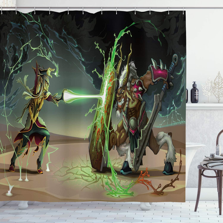 Ambesonne Anime Shower Curtain, Animal Comics Superheros with Dangerous Wildlife Powers Goat with Rays Design Print, Cloth Fabric Bathroom Decor Set with Hooks, 70