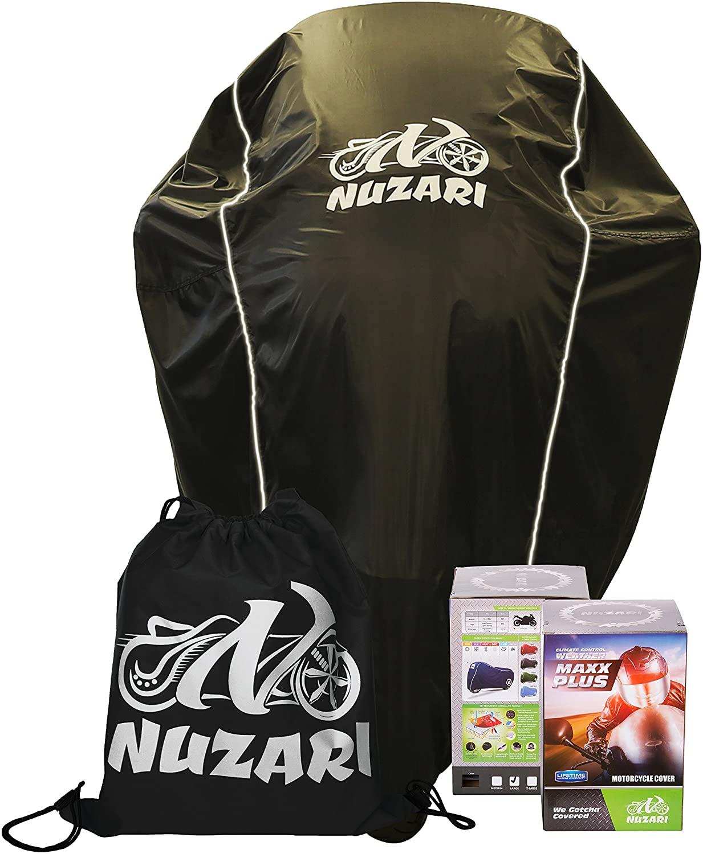 Nuzari Waterproof Polyester Outdoor Motorcycle Cover, Extra Large - Black