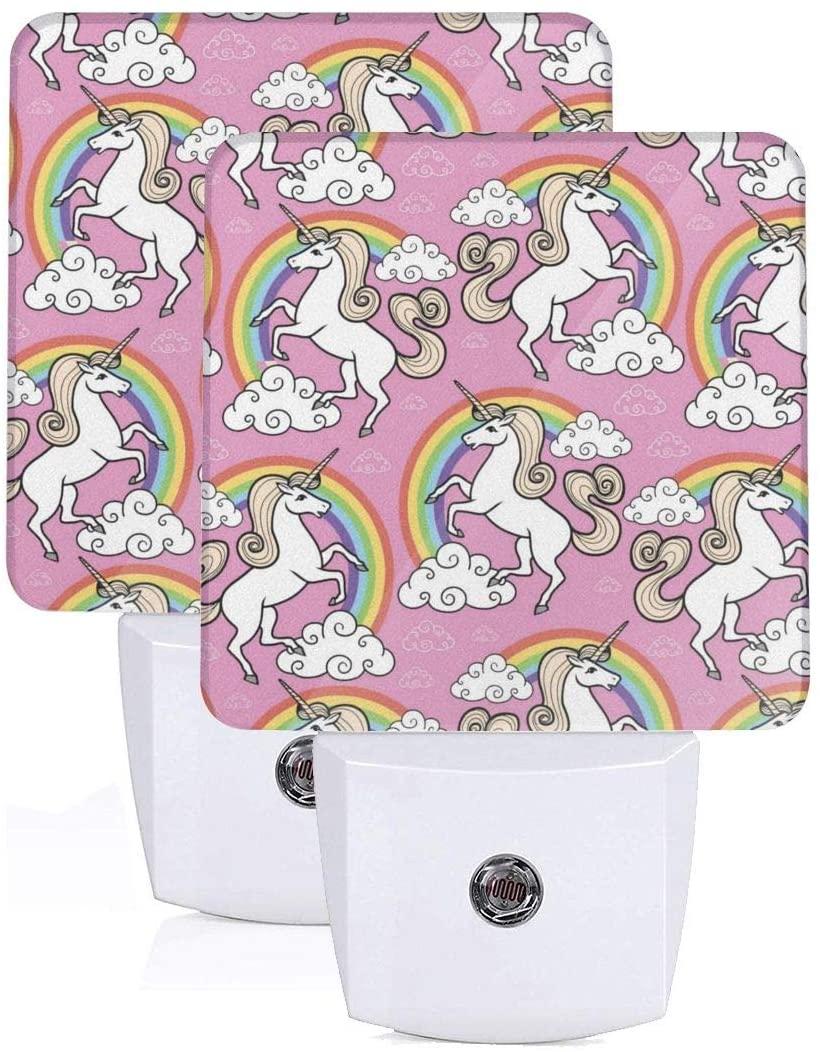 FeiHuang Printing Pink Rainbow Unicorn Patterns On Plug-in LED Night Light Warm White Nightlight for Bedroom Bathroom Hallway Stairways(0.5W 2-Pack)