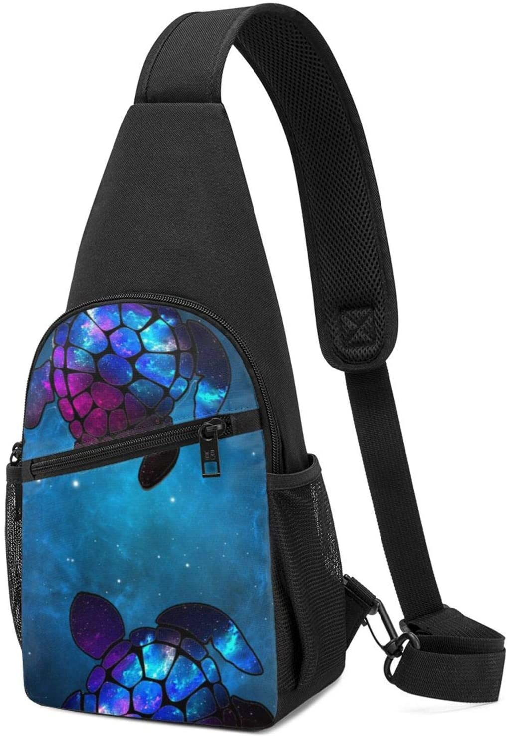 NiYoung Student Sea Turtle Galaxy Chest Crossbody Fashion Outdoor Backpack Multipurpose Sling Backpack Bag for Work, Commuting, Outdoor