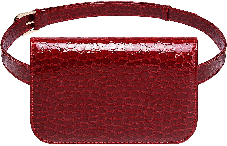Badiya Women's Mini Waist Bag Fanny Packs Crocodile Leather Cell Phone Pocket (Red -A)