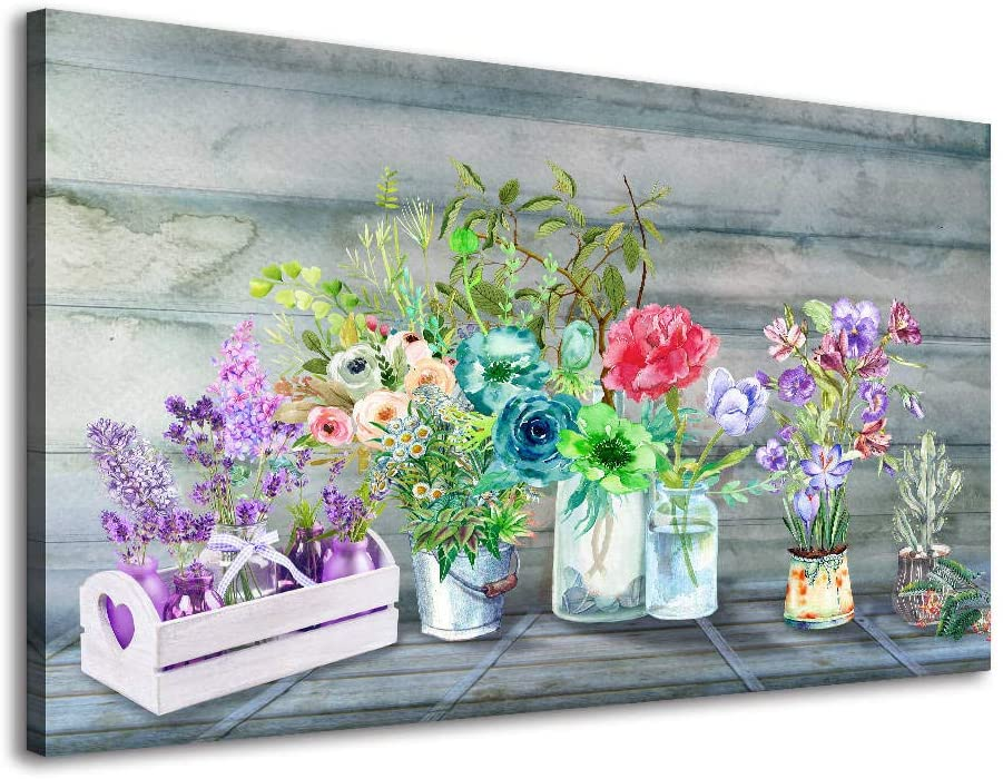 Canvas Wall Art for Bathroom, Colorful Flower Pictures Art Prints Wall Painting for Bedroom Living Room Dining Room Home Decorations Purple Teal Blue Floral Office Hanging