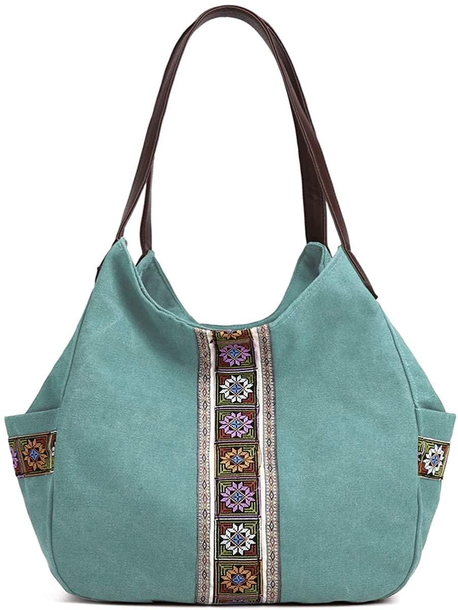 Worldlyda Women Canvas Hobo Purse Multi Pocket Tote Shopper Shoulder Bag Casual Top Handle handbag with Embroidery Ethnic