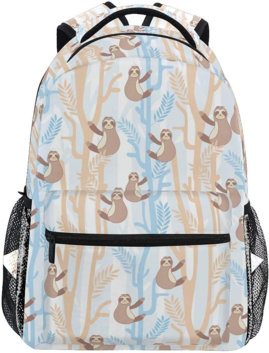 Cute Sloth Tree Colorful Backpack School Bookbag Rucksack Shoulder Book Bag for Boys Girls Women Travel Daypacks