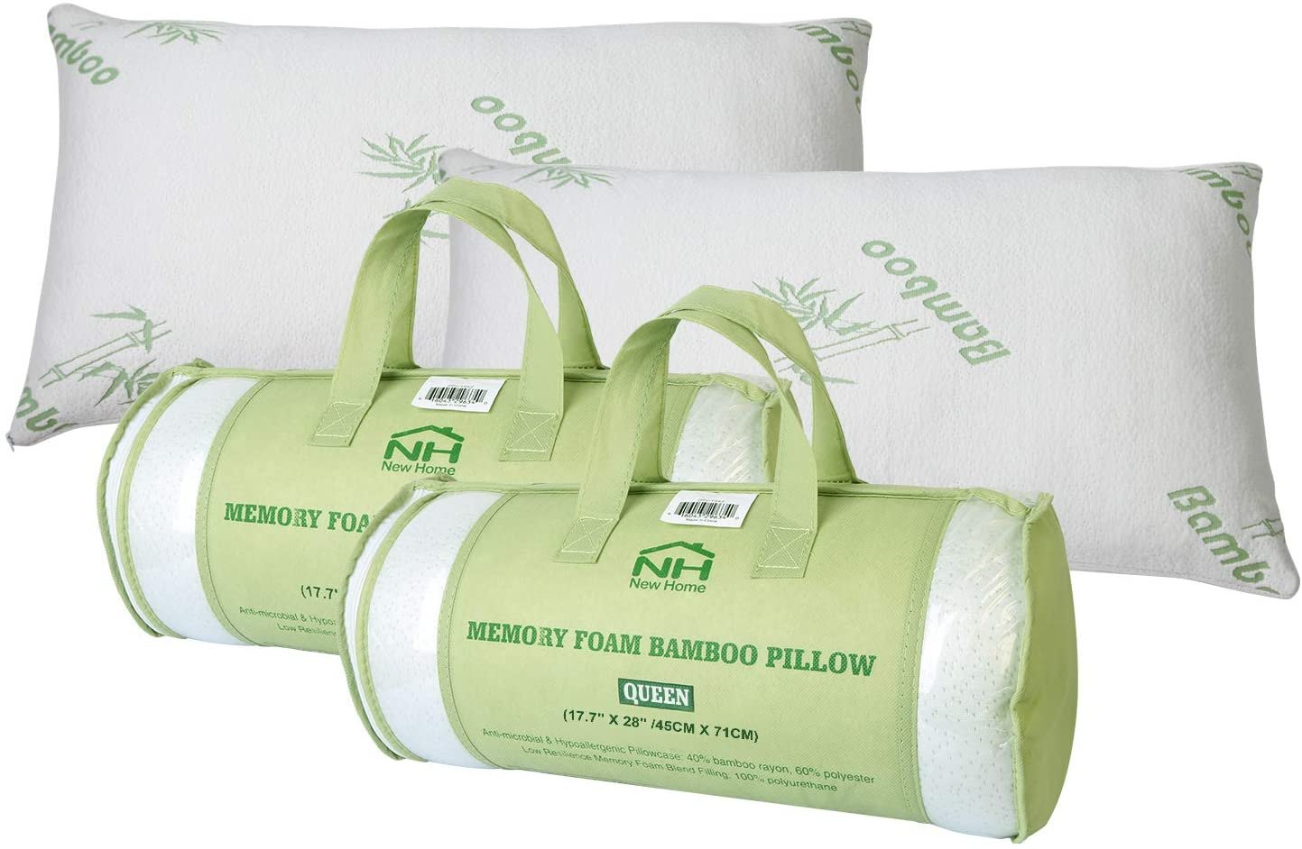 iMounTEK Bamboo Rayon Breathable Hypoallergenic Memory Foam Pillow with Washable Pillow Case, Premium Pillows for Sleeping – Back/Stomach/Side Sleeper, Bamboo Cooling Bed Pillows (Queen Size)(2-Pack)