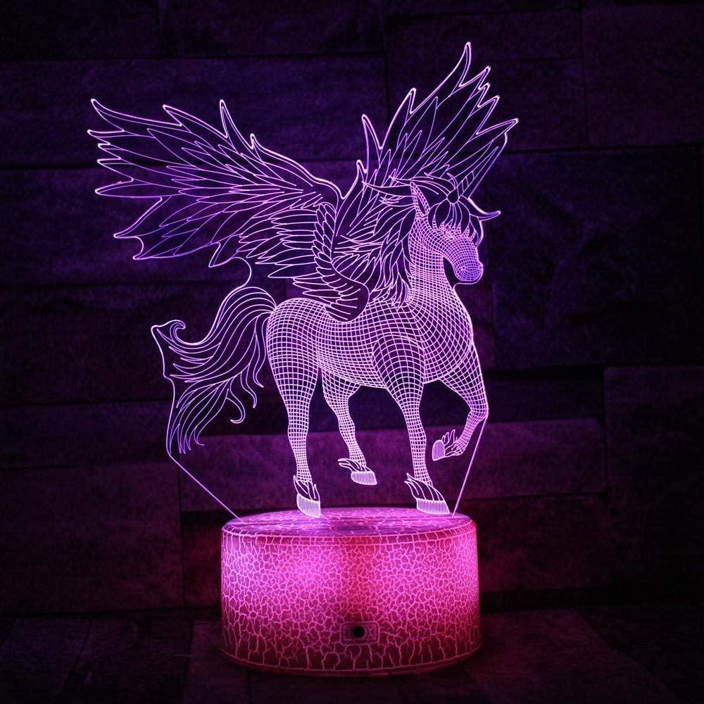 vbgdf 3D Night Light LED Winged Unicorn 7 Color Lamps for Kids