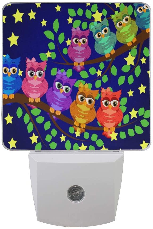 Night Light 2 Pack, Night Scene Owl Moon Stars Plug-in LED Night Lamp with Light Sensor Bathroom Kitchen Hallway Living Room Decorative Daylight White for Kids