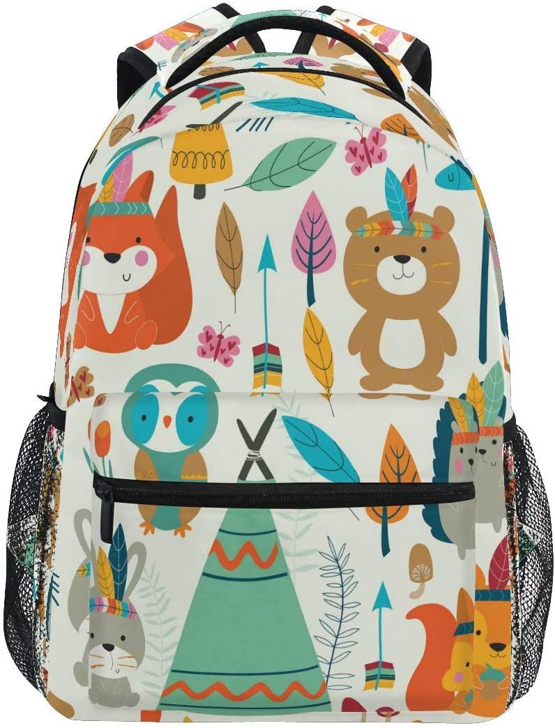 Ombra Backpack Cute Cartoon Tribal Animal Fox School Shoulder Bag Large Waterproof Durable Bookbag Laptop Daypack for Students Kids Teens Girls Boys Elementary