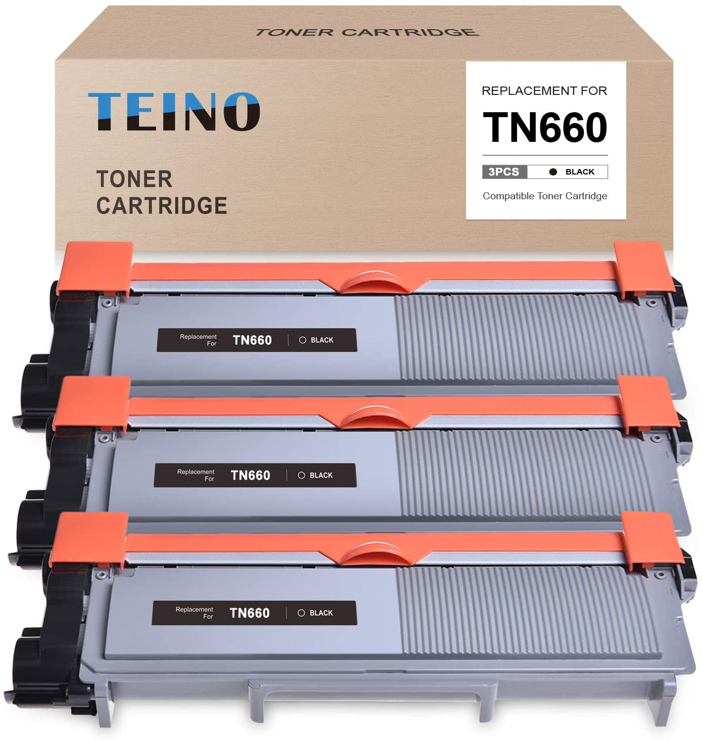 TEINO Compatible Toner Cartridge Replacement for Brother TN660 TN630 use with Brother HL-L2300D HL-L2320D HL-L2340DW HL-L2380DW HL-L2360DW MFC-L2700DW MFC-L2707DW MFC-L2740DW (Black, 3-Pack)