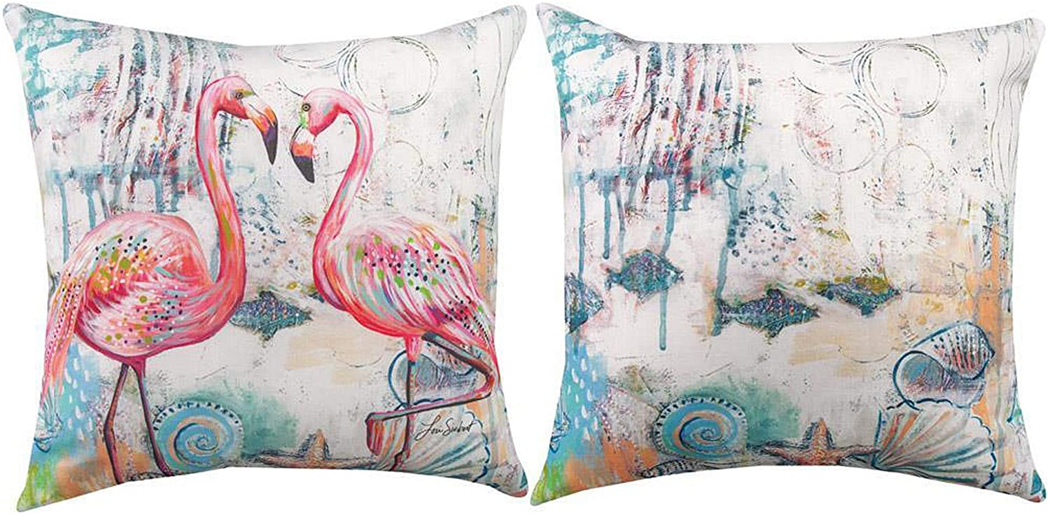 Kensington Row Coastal Collection Throw Pillows - Loving Flamingos Indoor Outdoor Reversible Pillow - 18
