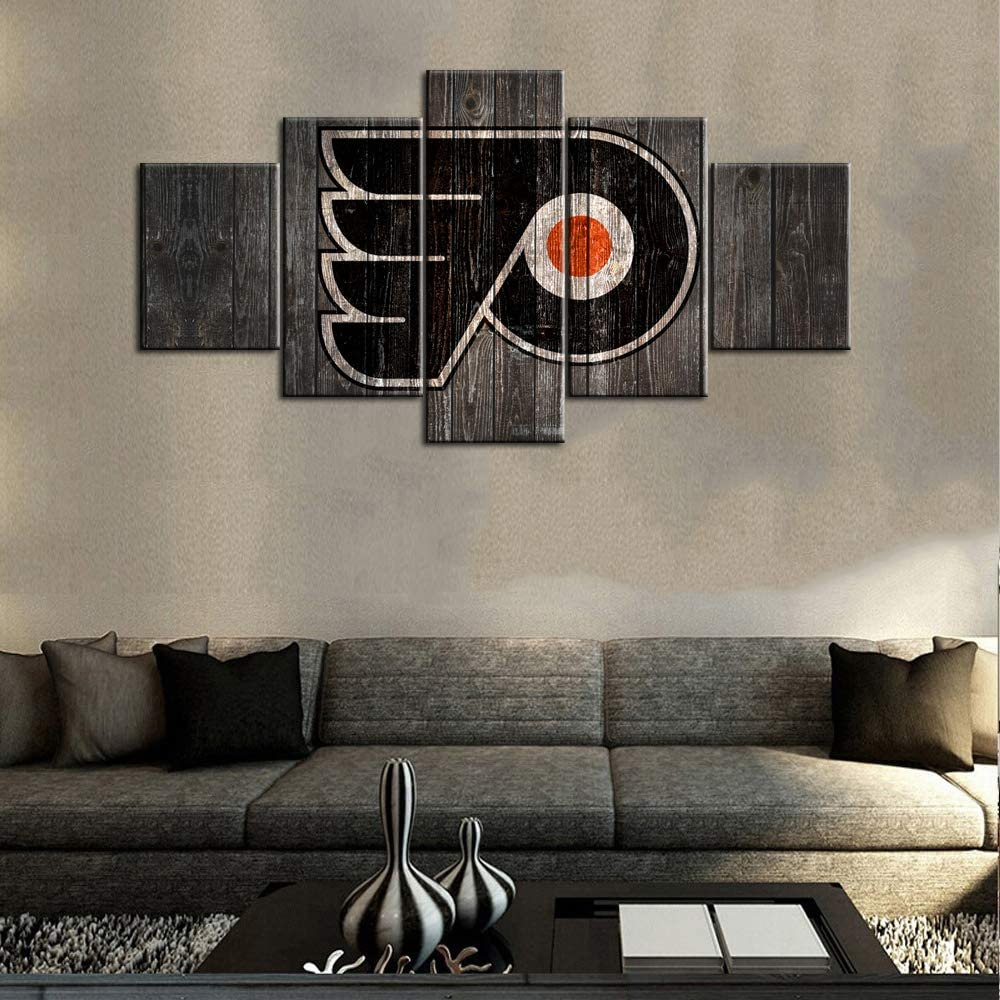 TUMOVO American Wall Art Philadelphia Flyers Logo Canvas Prints Painting Professional Ice Hockey Match Poster Home Decor Boys Bedroom Vintage Wood Artwork Framed Ready to Hang 5 Panel(60Wx32H inches)