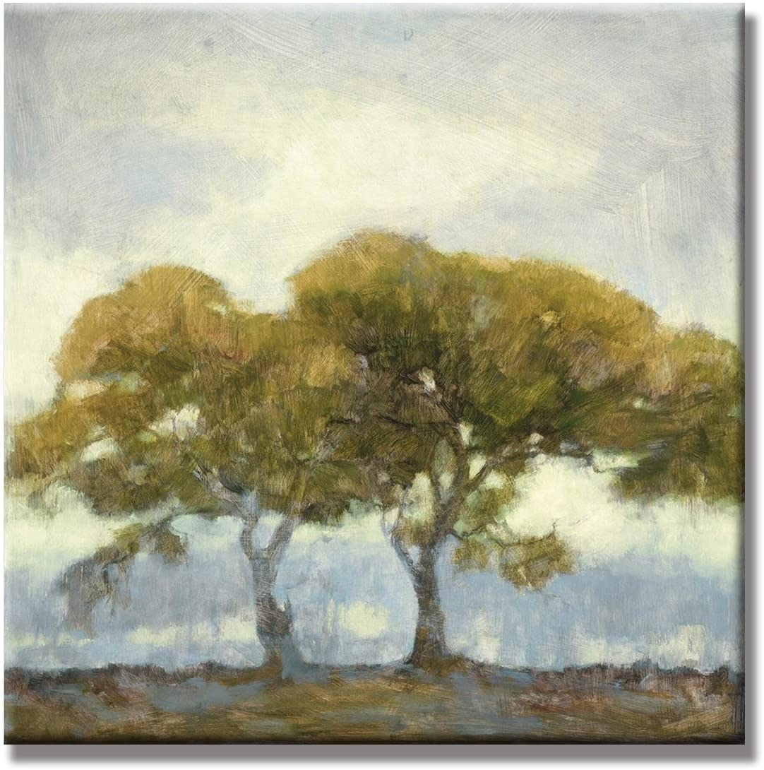 JAPO ART - Landscape Abstract Green Trees 100% Hand Painted Oil Painting with Stretched Frame Wall Art for Livingroom 24 x 24 Inch