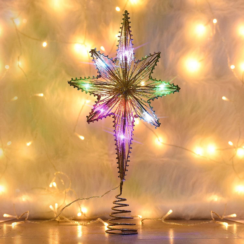 Rocinha Christmas Star Tree Topper Lighted Bethlehem Star Treetop with 10 LED Multicolor Fairy Lights - Gold Star Treetop for Christmas Tree and Holiday Seasonal Decorations (16 Inch)