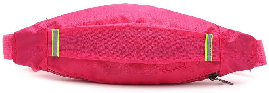 FEIlei Waist Bag, Unisex Sports Running Cycling Jogging Earphone Waist Belt Pack Bag Pouch Pocket- Rose Red