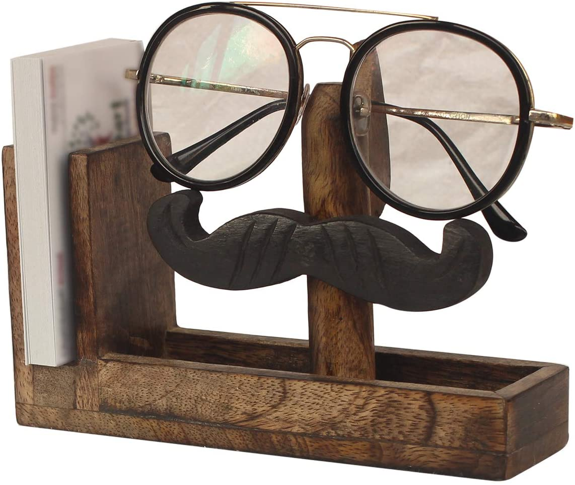 Mustache Spectacle Holder Display Stand | Wood Business Card Holder | Wooden Tabletop Countertop Accessories | Optical Glass Protection | Home Office Desk Supplies | Home Decor | Decoration Gifts