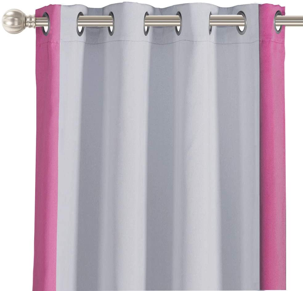 LORDTEX Color Block Blackout Curtains for Kids Room -Color Bordered Thermal Insulated Curtains Noise Reducing Window Drapes for Boys and Girls Bedroom, 52 x 63 Inches Long, Pink, Set of 2 Panels