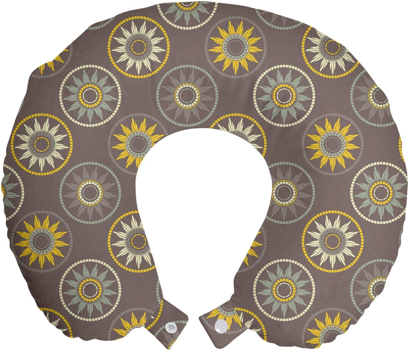 Ambesonne Boho Travel Pillow Neck Rest, Continuous Pastel Sun Motif, Memory Foam Traveling Accessory for Airplane and Car, 12