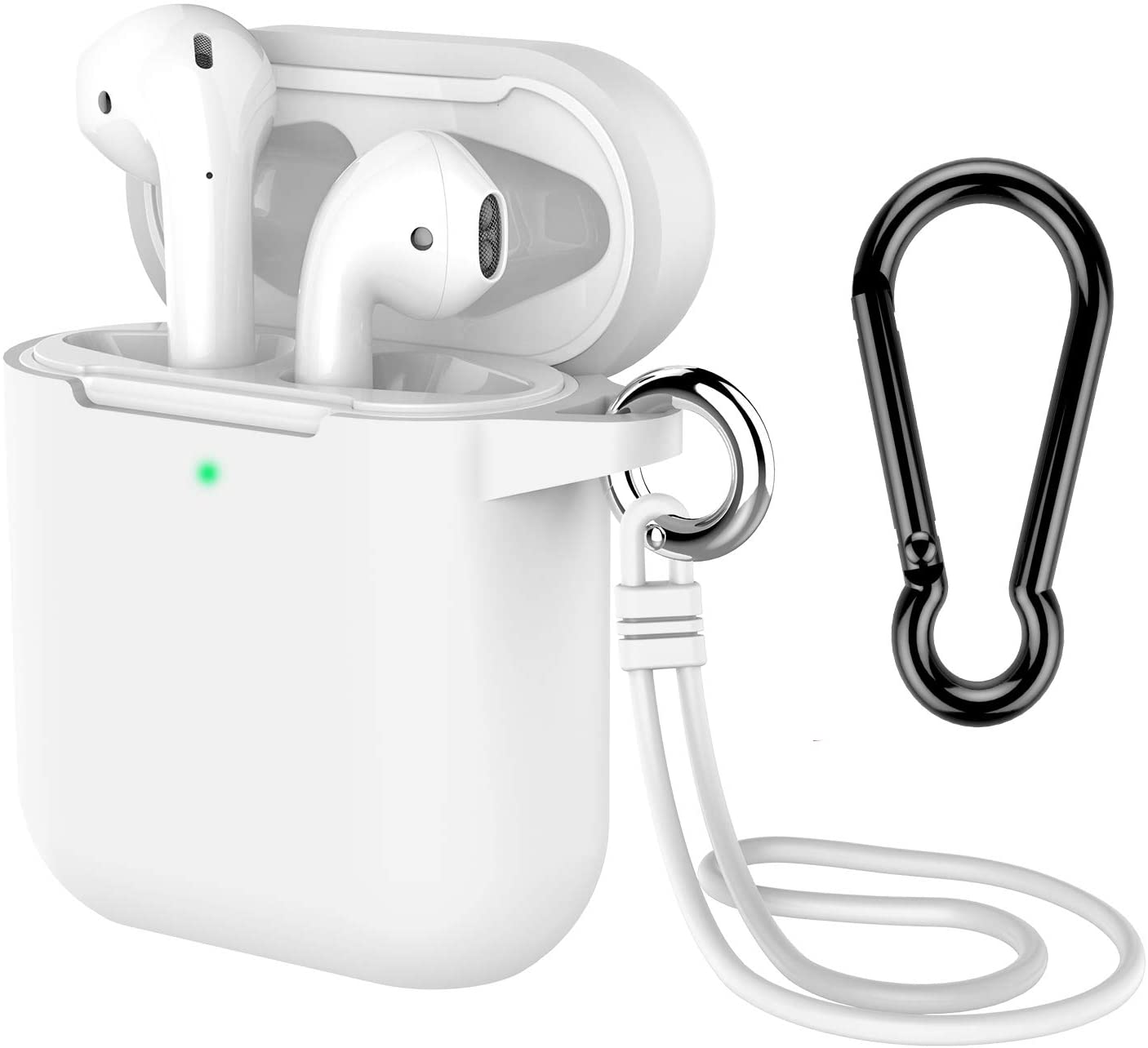AirPods Case with Keychain, Coffea Silicone Protective Case with Stap for AirPods 2 & 1 [Front LED Visible] (White)