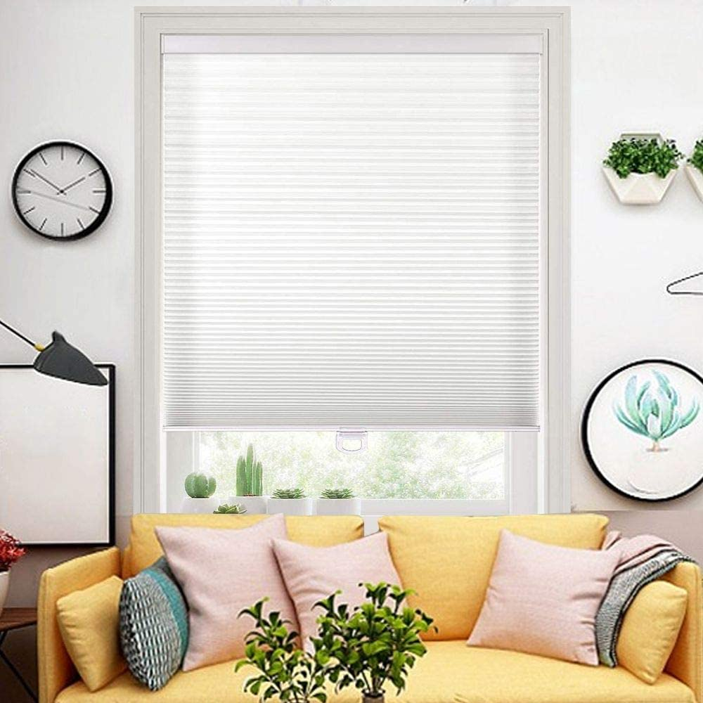 Wotefusi Cellular Shades Non-Woven Honeycomb Light Filtering Window Blinds Cordless Safe White 53