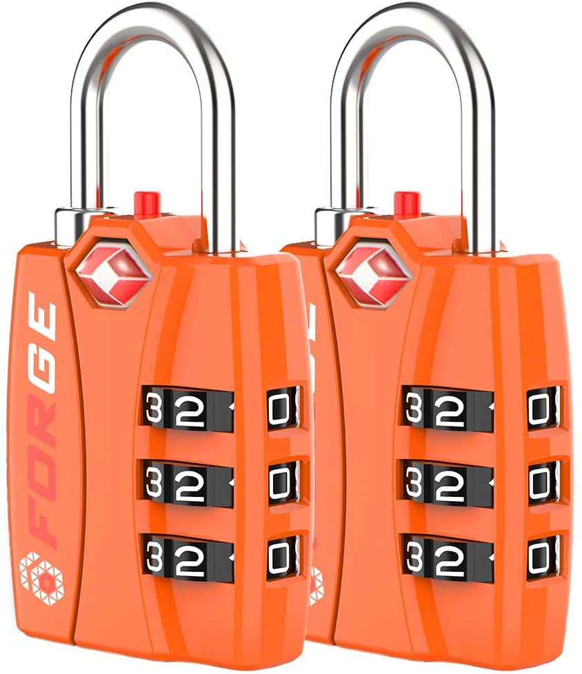 Forge TSA Luggage Combination Lock - Open Alert Indicator, Easy Read Dials, Alloy Body- Ideal for Travel, Lockers, Bags (Orange 2PK)