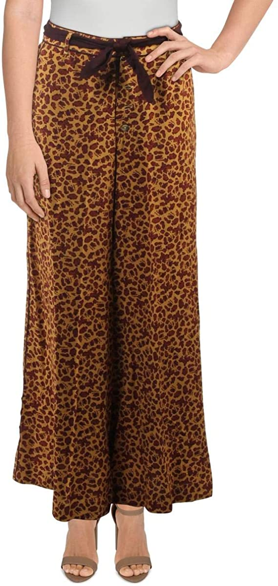 Free People Bennie Women's Belted Leopard Print Wide Leg Pants